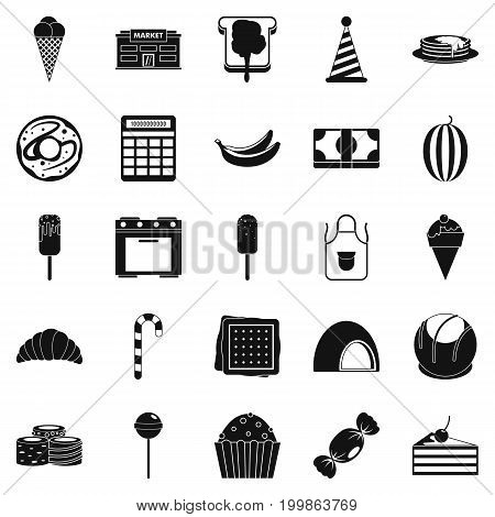 Candy icons set. Simple set of 25 candy vector icons for web isolated on white background