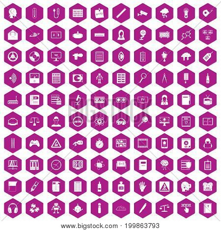 100 information icons set in violet hexagon isolated vector illustration