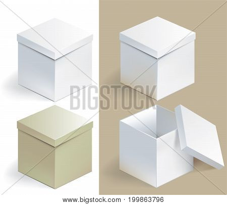 Vector illustration of empty sqare box on isolated background