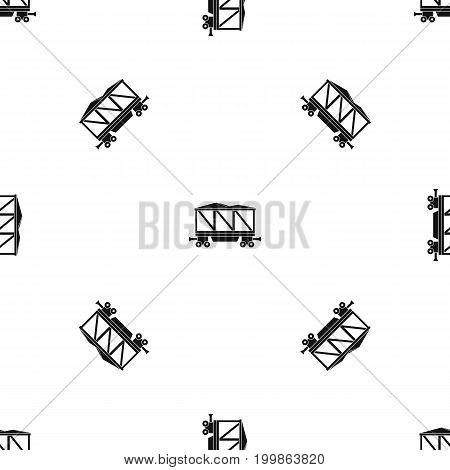 Railway wagon pattern repeat seamless in black color for any design. Vector geometric illustration
