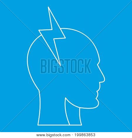 Electrical power in human head icon blue outline style isolated vector illustration. Thin line sign