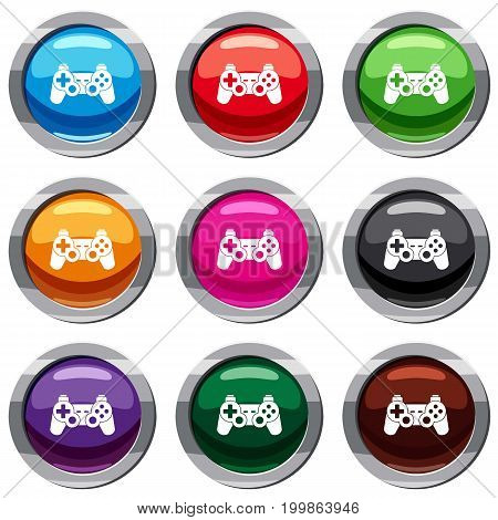 Game controller set icon isolated on white. 9 icon collection vector illustration