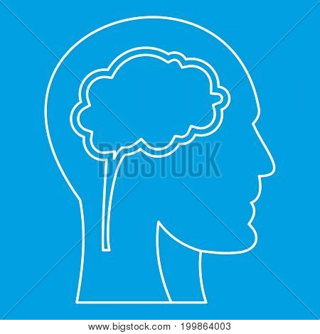 Human head with brain icon blue outline style isolated vector illustration. Thin line sign