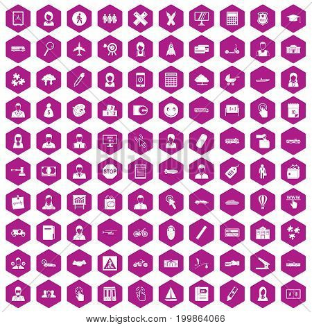 100 initiation icons set in violet hexagon isolated vector illustration