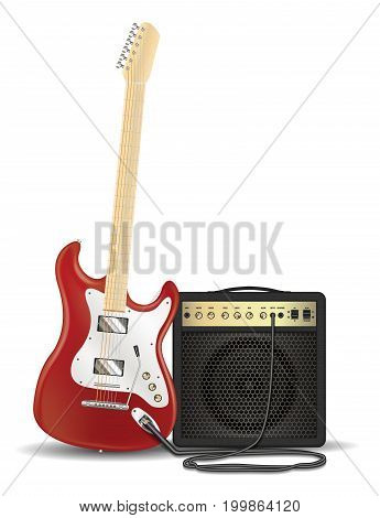 real red electric guitar with guitar amplifier