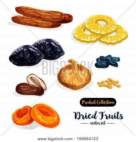 Dried fruit cartoon icon set. Raisins, date, apricot, prune, fig, pineapple, banana and damson fruit isolated sign for natural healthy sweets and snack food packaging label design