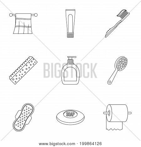 Bathroom icons set. Outline set of 9 bathroom vector icons for web isolated on white background