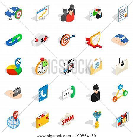 Antispam icons set. Isometric set of 25 antispam vector icons for web isolated on white background