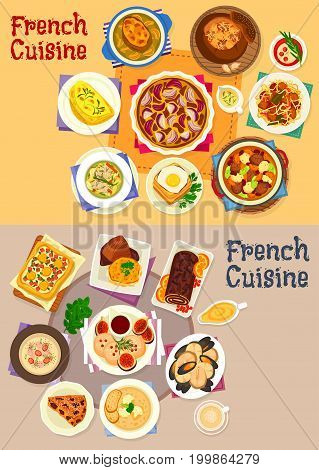 French cuisine dishes for lunch menu icon set. Cheese ham toast, vegetable casserole, seafood soup and stew, chicken and onion cream soup, foie gra, vegetable egg, onion pie, chocolate and prune cake