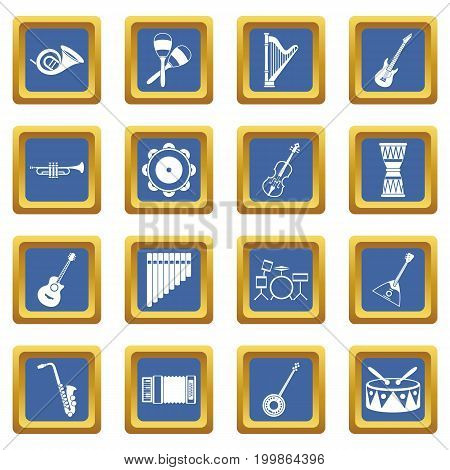 Musical instruments icons set in blue color isolated vector illustration for web and any design
