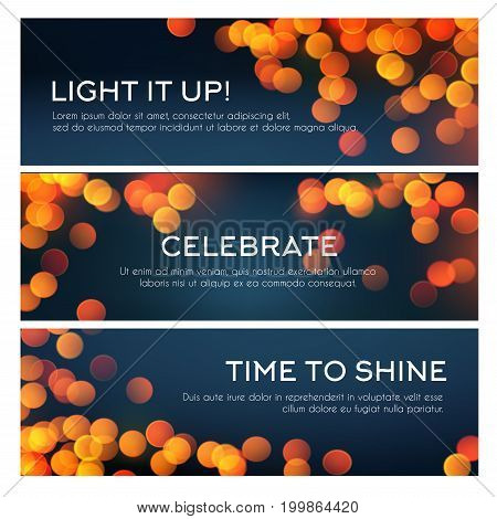 Bokeh light banner set. Golden glitter of defocused lights, blurred glow of shining stars and sparkles with copy space festive background design for greeting card and invitation flyer
