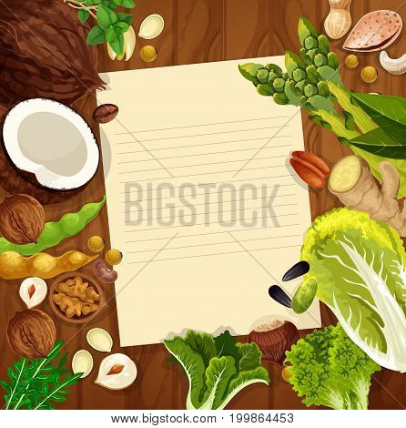 Blank paper on wooden background with nuts, salad vegetable and beans. Recipe, menu card with almond, peanut and basil, lettuce, walnut, hazelnut and pistachio, cashew, soy, coffee, green bean, ginger
