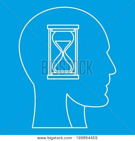 Hourglass inside human head icon blue outline style isolated vector illustration. Thin line sign