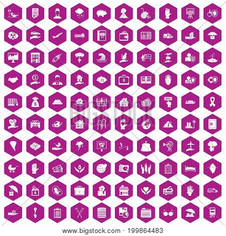 100 insurance icons set in violet hexagon isolated vector illustration