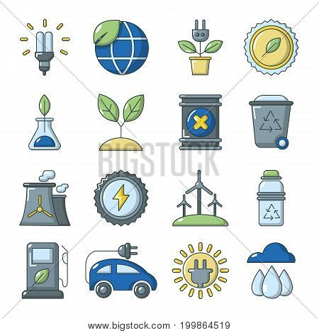 Ecology icons set. Cartoon illustration of 16 ecology vector icons for web