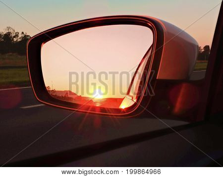 Sunset on the horizon by mirror reflection