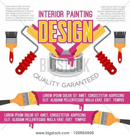 House repair and painting works poster. Painting tools banner with paint can, brush and roller for interior painting services or design studio advertising brochure design