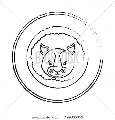 white background with blurred silhouette of frame decorative and face lion cute animal vector illustration