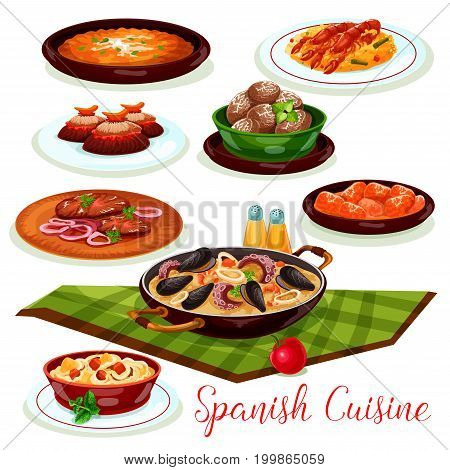 Spanish cuisine traditional seafood paella cartoon icon, served with mussel and shrimp, vegetable tortilla, chicken stewed in chilli tomato sauce, beef steak, baked potato and pork stew