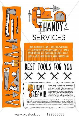 House repair tool and carpentry equipment sketch poster template. Hammer, pliers, paint brush, trowel, axe, tape measure, jack plane and vice, hand tool banner for hardware store and DIY themes design