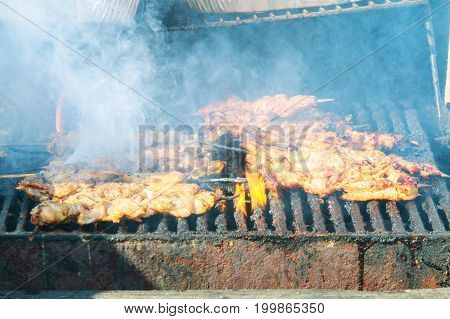 Grilling shashlik on barbecue grill. Selective focus Grilled Barbecue