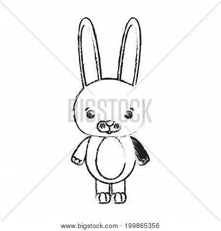 blurred silhouette caricature cute rabbit animal vector illustration