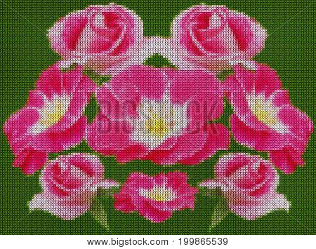 Illustration. Cross-stitch. Pattern the wreath of flowers scarlet roses on green background.