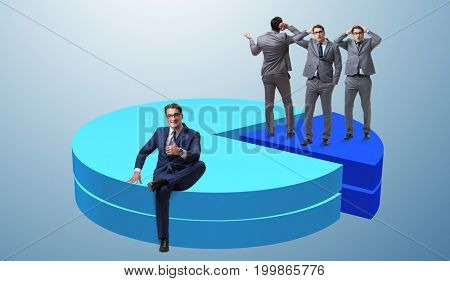 Businessman sitting on pie chart in business concept