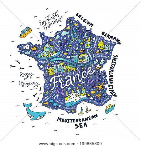 Map of France - cartoon map with main sightseeing.