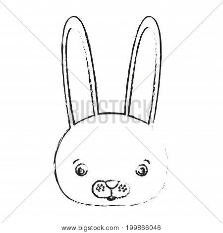 blurred silhouette caricature face rabbit cute animal vector illustration