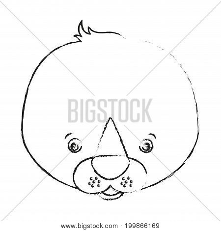 blurred silhouette caricature face seal cute animal vector illustration