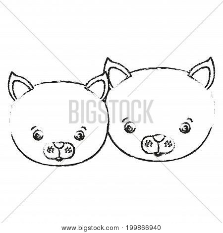 blurred silhouette caricature face couple cute animal cats vector illustration