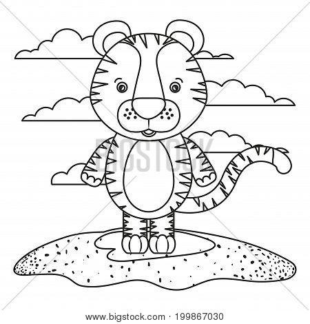 sketch silhouette scene cute tiger animal in grass vector illustration