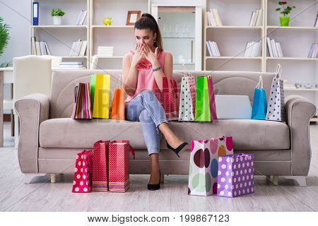 Young woman after shopping with bags