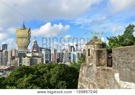 Fortaleza do Monte with Macau city view on blue sky day