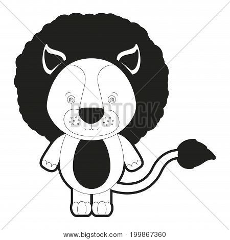 sketch silhouette monochrome caricature cute lion animal vector illustration