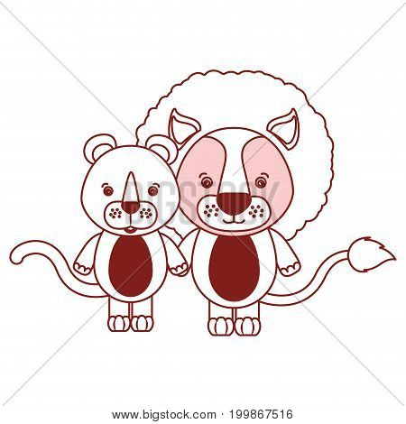 white background with red color silhouette sections of caricature couple cute lion and lioness animals vector illustration