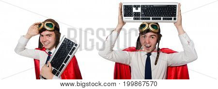 Funny hero with keyboard isolated on the white
