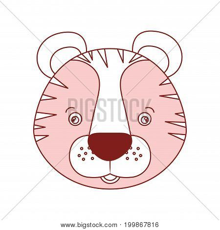 white background with red color silhouette sections of caricature face tiger cute animal vector illustration