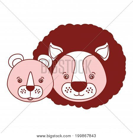 white background with red color silhouette sections of caricature face couple cute lion and lioness animals vector illustration