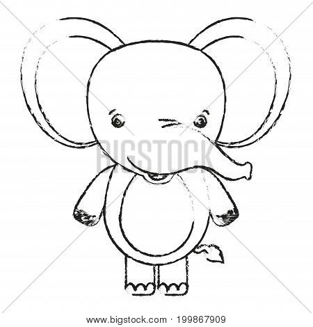 blurred silhouette caricature cute elephant animal vector illustration
