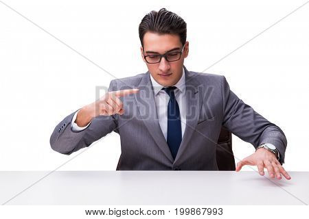 Young businessman pressing virtual buttons isolated on white bac