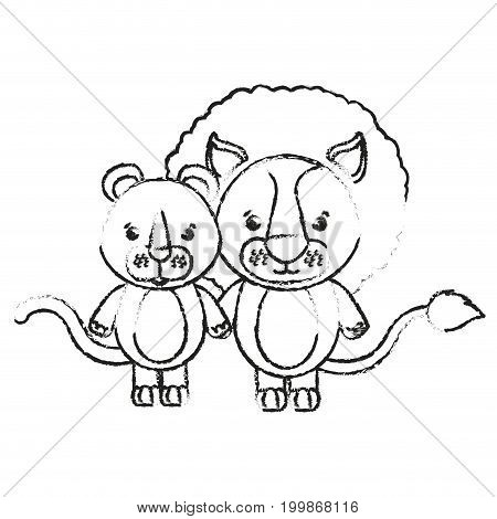 blurred silhouette caricature couple cute lion and lioness animals vector illustration