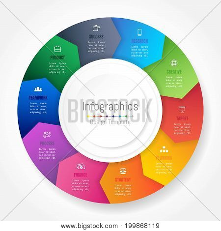 Infographic design elements for your business data with 10 options parts steps timelines or processes Arrow wheel circle style. Vector Illustration.