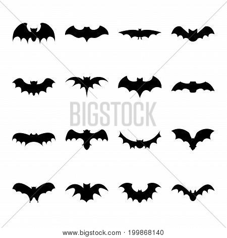 Set of bat silhouette flat icon on white background halloween symbol for web. vector illustration