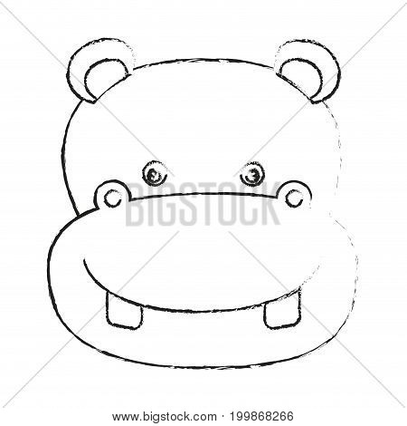 blurred silhouette caricature face hippopotamus cute animal vector illustration