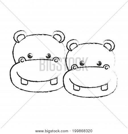 blurred silhouette caricature face couple cute animal hippopotamus vector illustration
