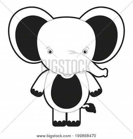 sketch silhouette monochrome caricature cute elephant animal vector illustration