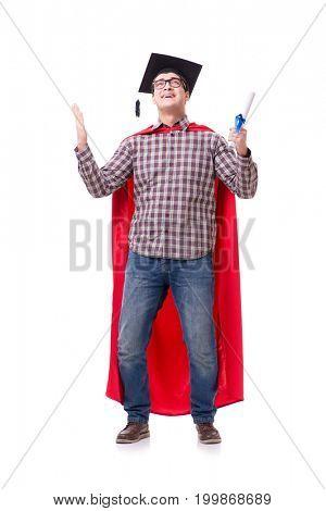 Super hero student graduating wearing mortar board cap isolated