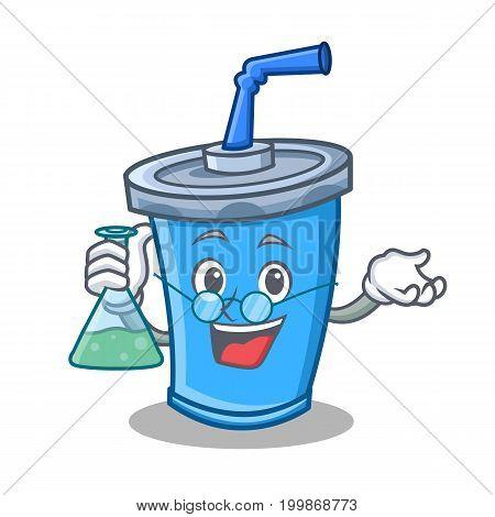 Professor soda drink character cartoon vector illustration